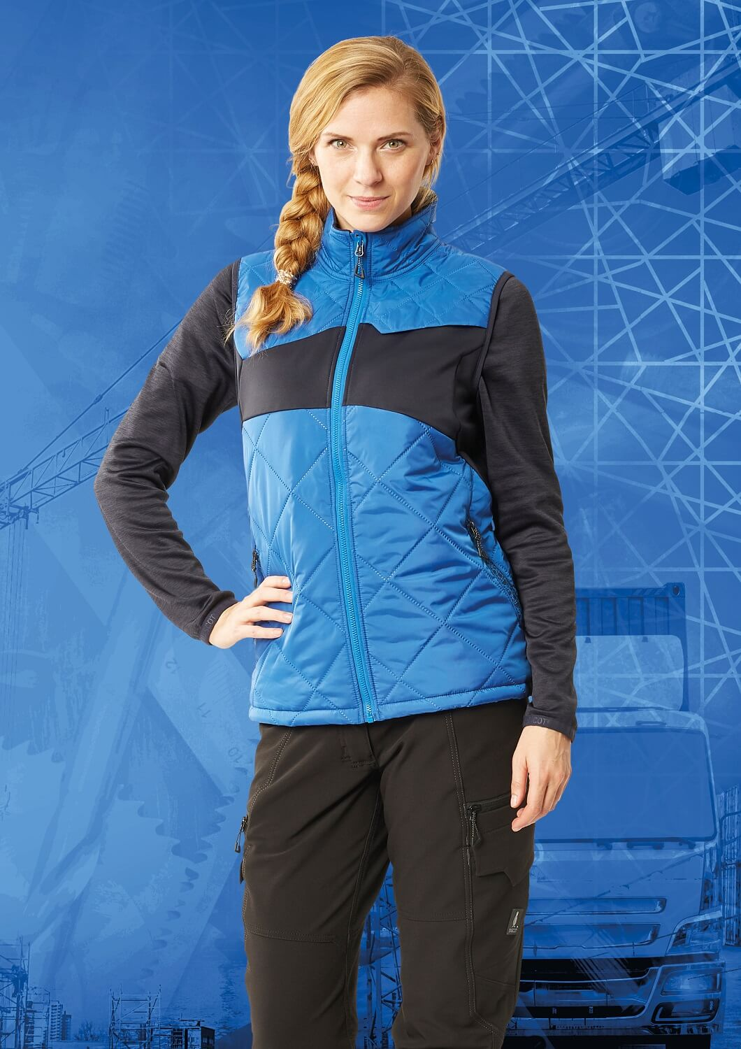 Gilet for women & Work Trousers - MASCOT® ACCELERATE - Royal blue & Black