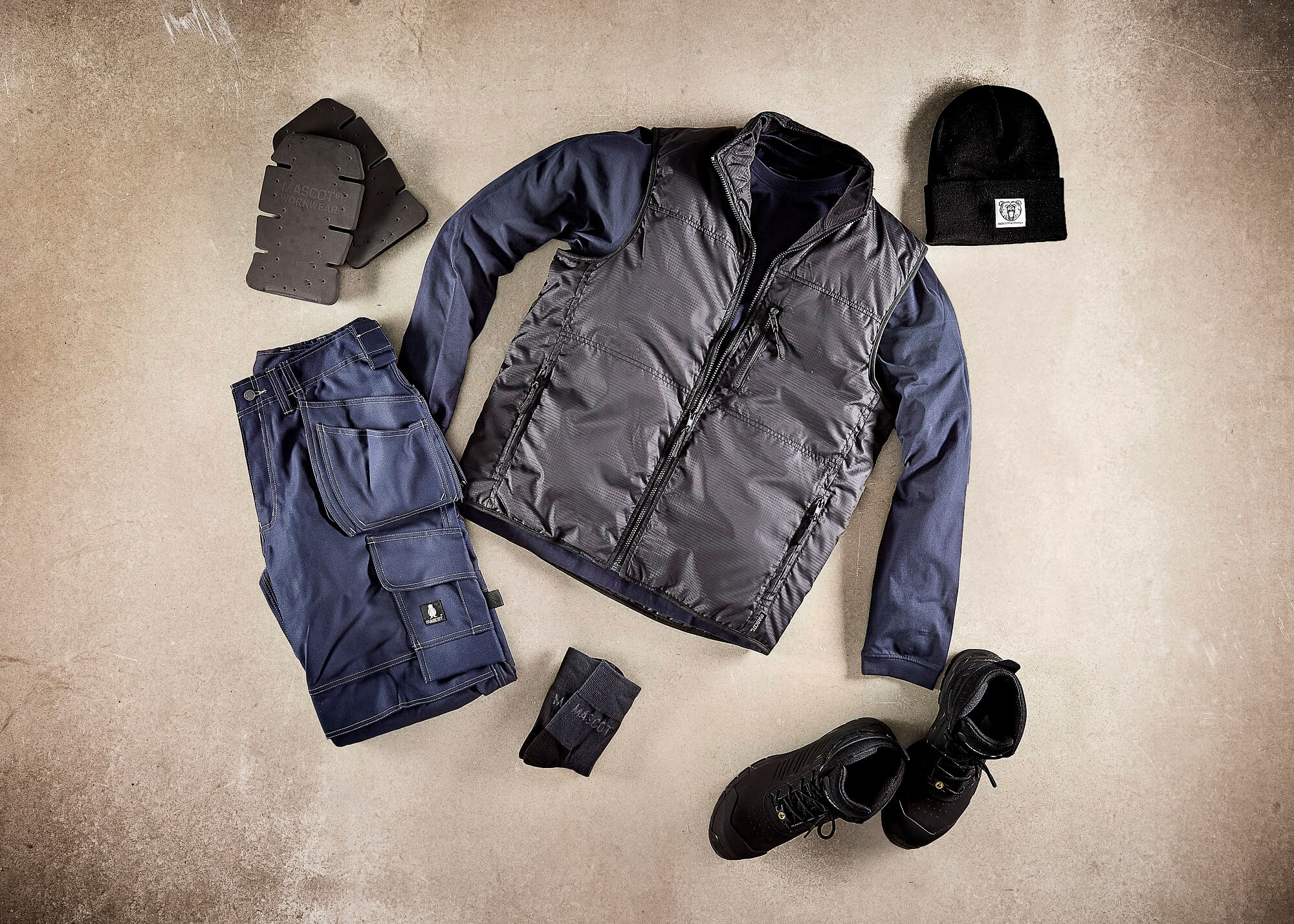 Work Gilet, Trousers & Safety Boot - Collage - Navy