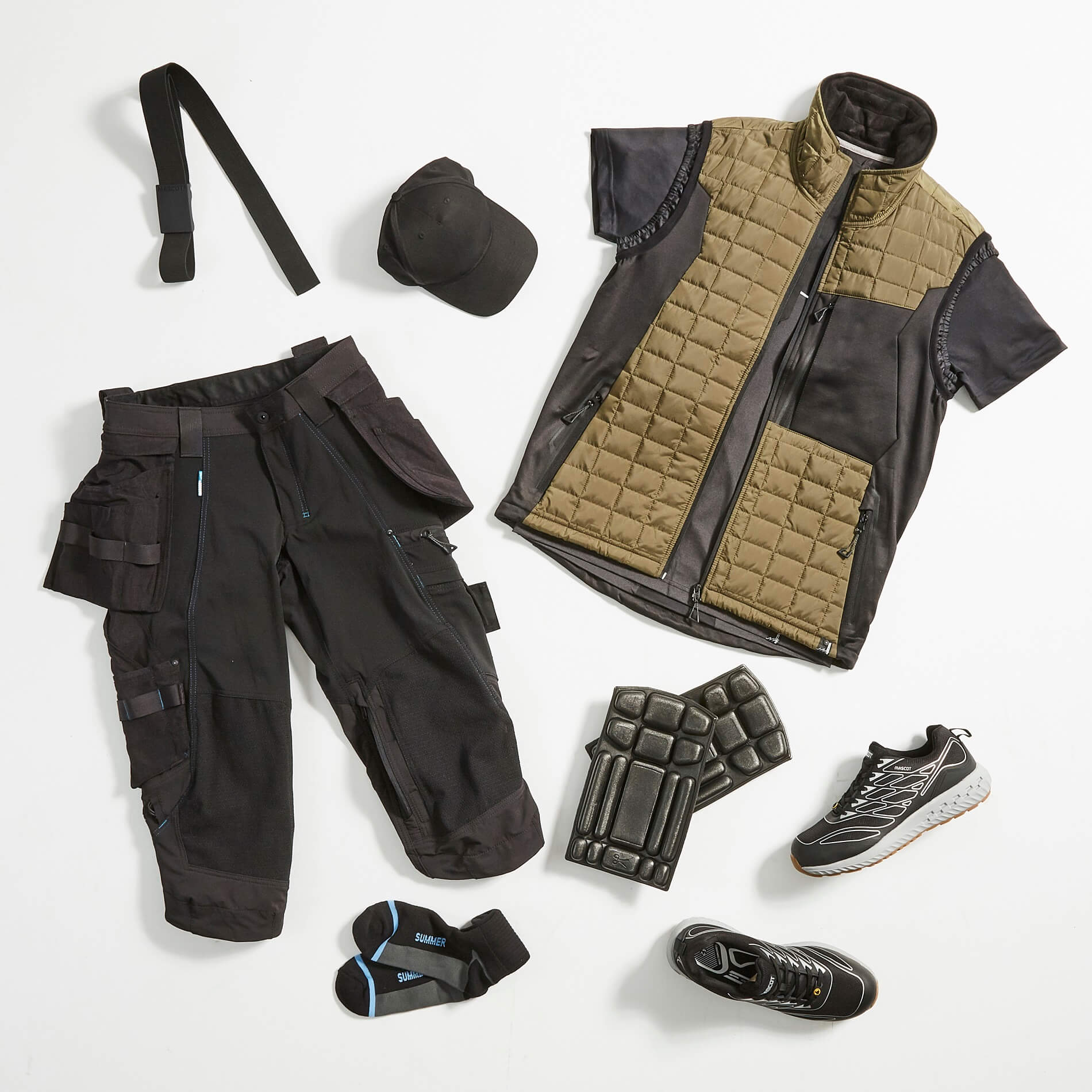 Olive green & Black - Work Gilet, ¾ length trousers & Accessories - MASCOT®