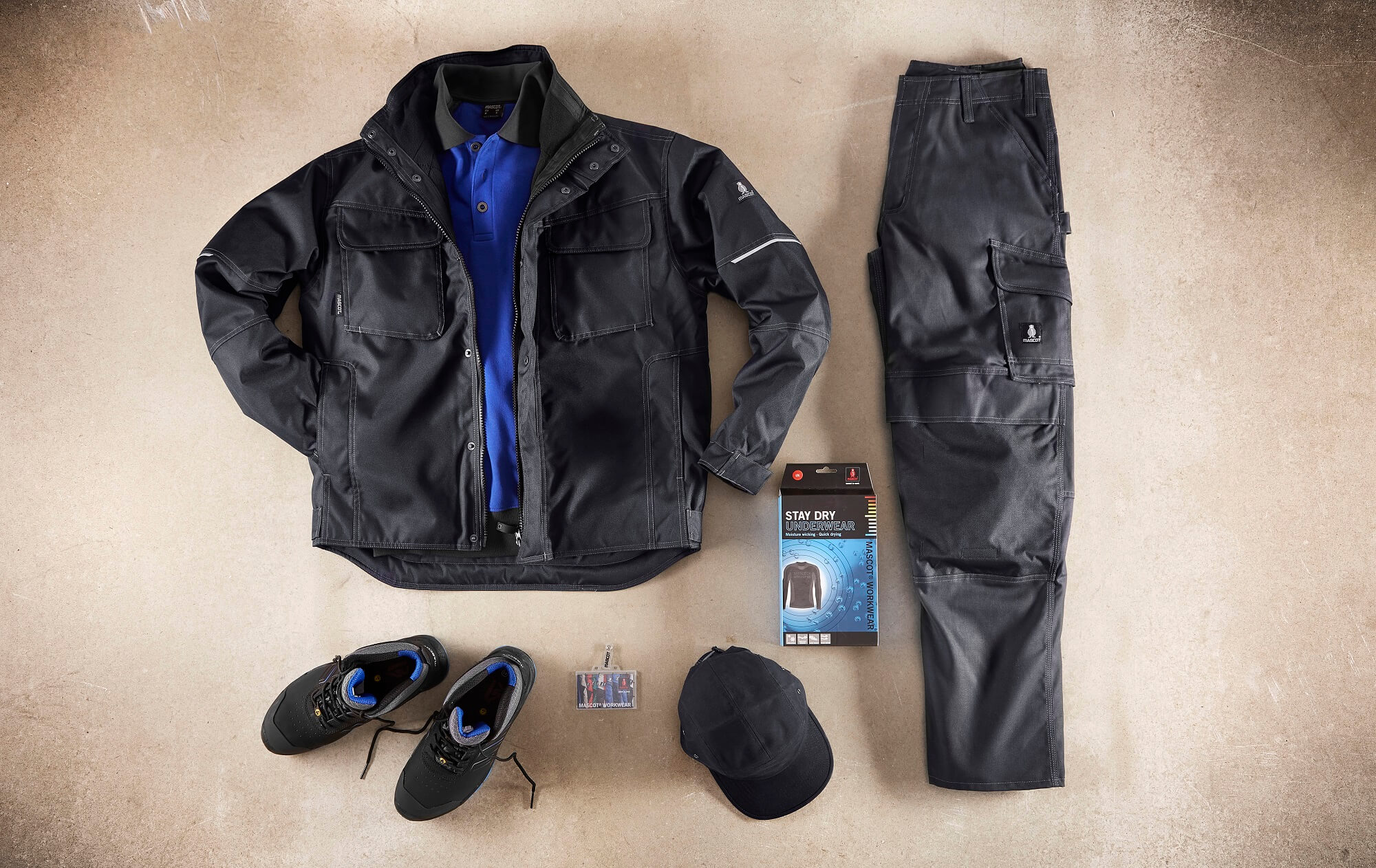 Black - Winter Jacket, Polo shirt, Trousers. Underwear & Safety Shoe - Collage