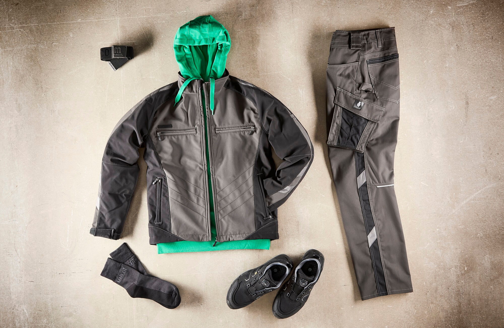 Collage - Safety Shoe, Softshell Jacket, Hoodie & Work Trousers - Grey