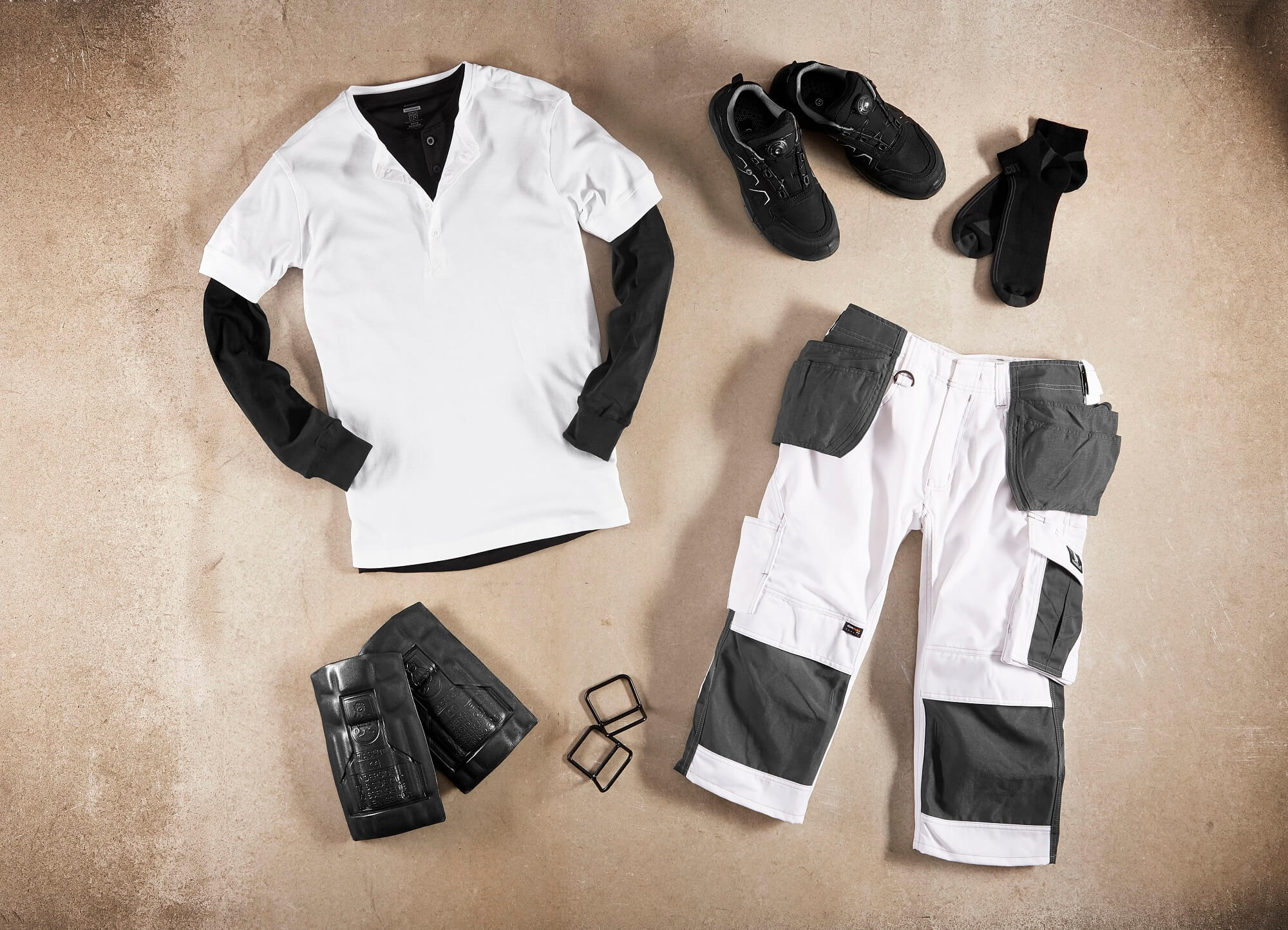 White - T-shirt, ¾ Work Trousers & Accessories - Collage