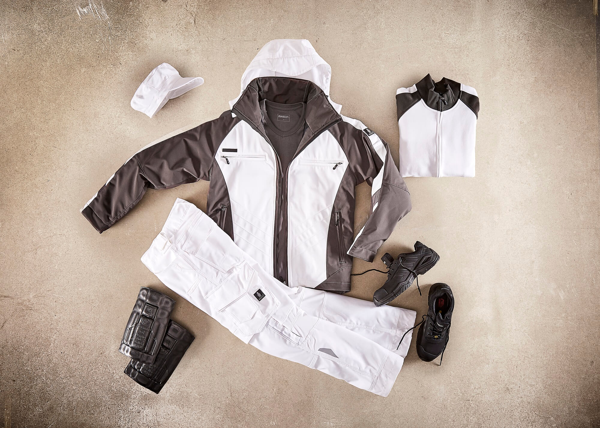Collage - Winter Jacket, Trousers, Jumper & Safety Shoe - White