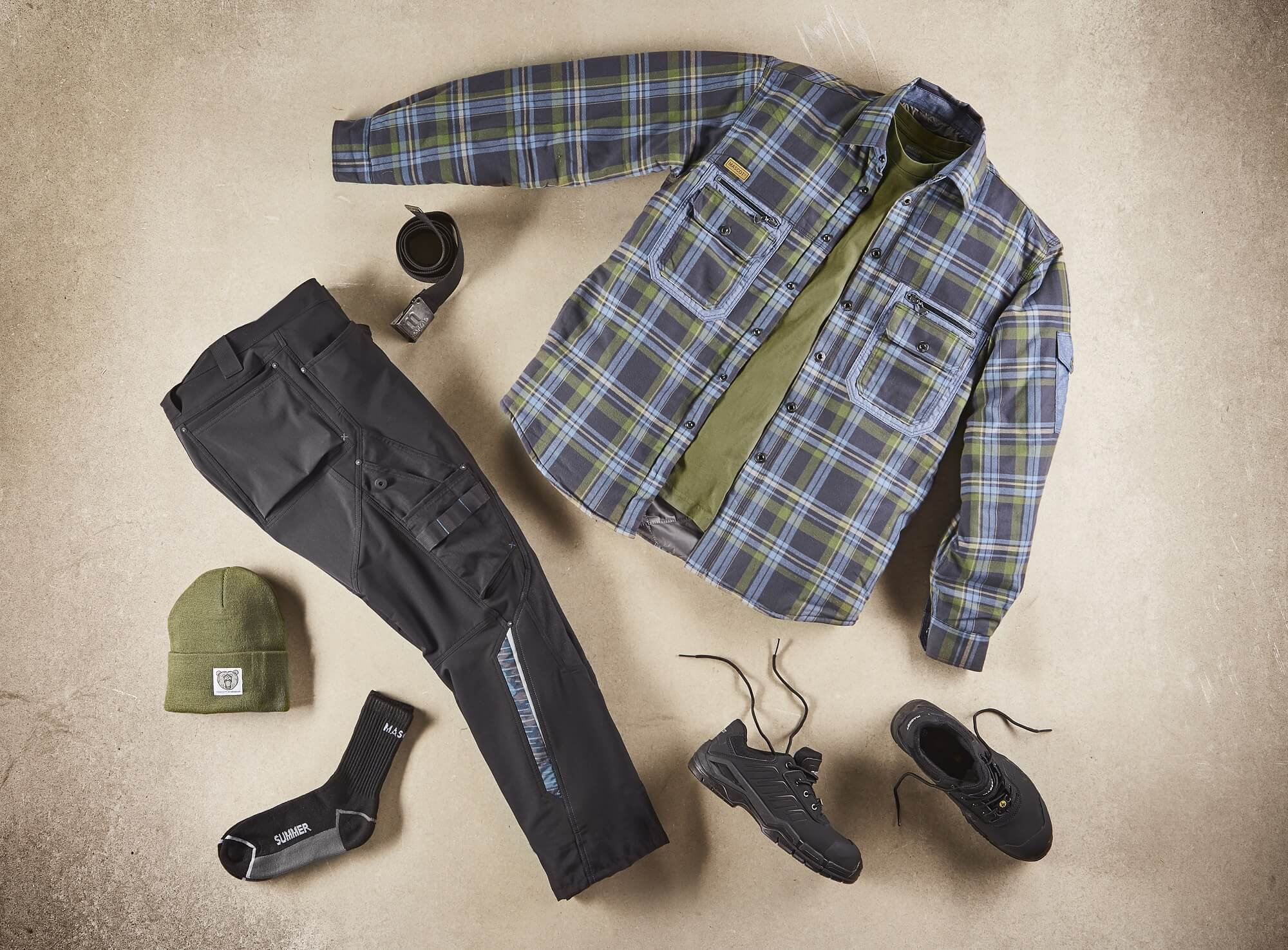 Workwear - Navy, Olive green & Black - Collage