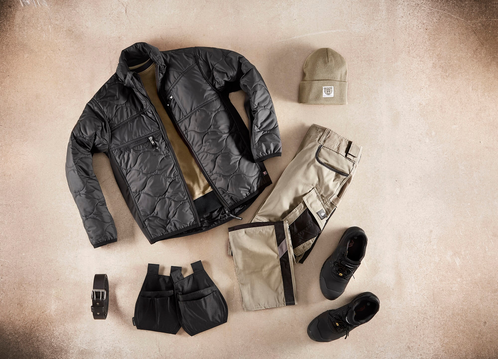 Thermal Jacket, Work Trousers & Holster Pockets - Khaki - Collage