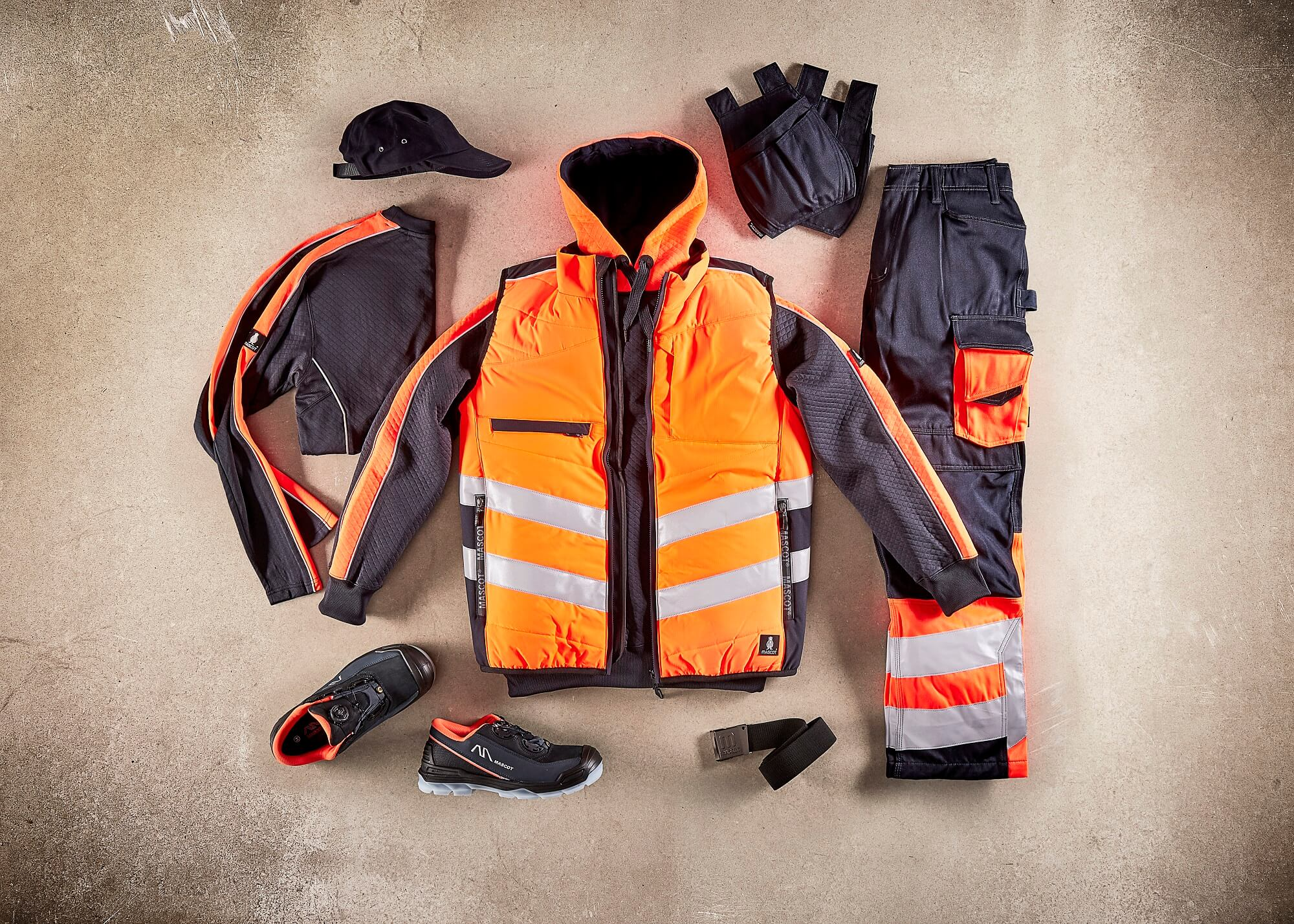 Safety clothing - Fluorescent orange - Collage