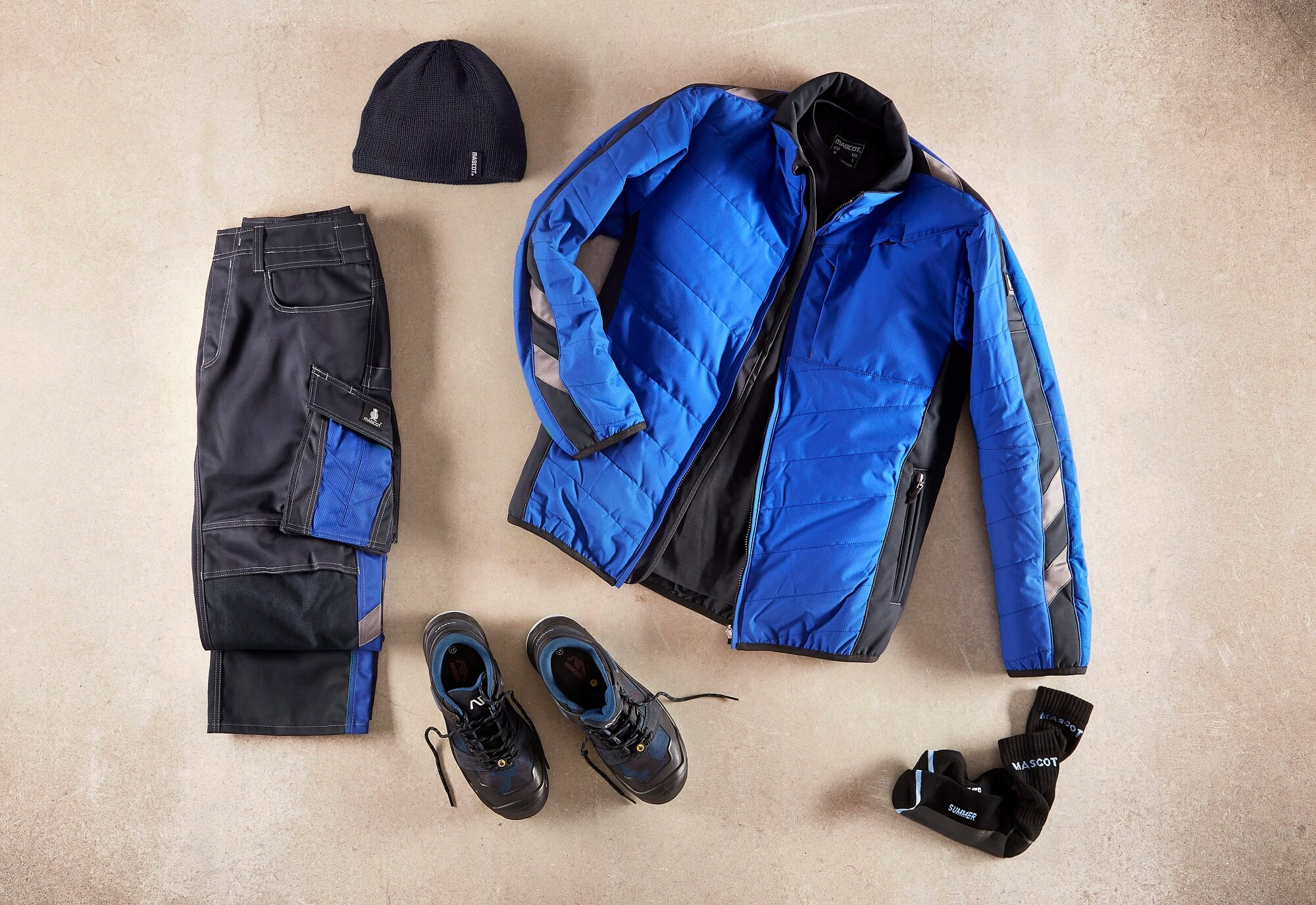 Royal blue - Thermal Jacket, Work Trousers, Safety footwear & Knitted Hat - Collage